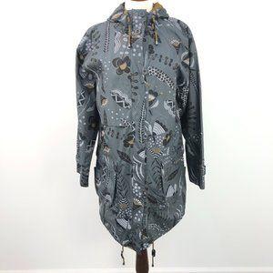 NWT Gudrum Sjoden Grey Floral Zip Up Parka Jacket